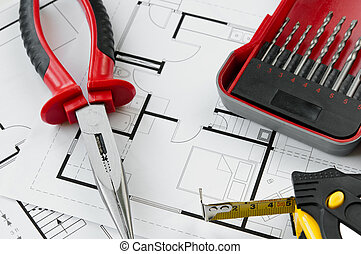 bouwsector, plan, gereedschap