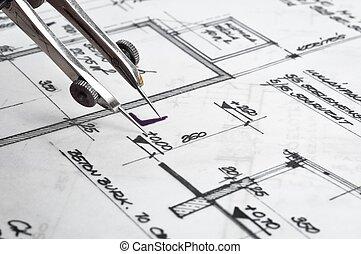 bouwsector, plannen, met, accessoires