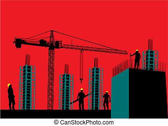bouwsector, silhouette, bouwterrein