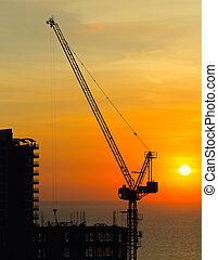 bouwsector, silhouette, kraan