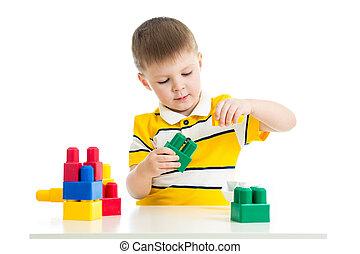 bouwsector, speelbal, set, spelend, kind