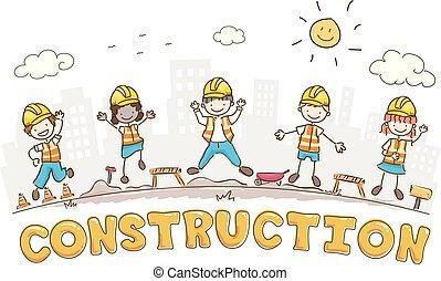 bouwsector, stickman, bouwterrein, geitjes, illustratie