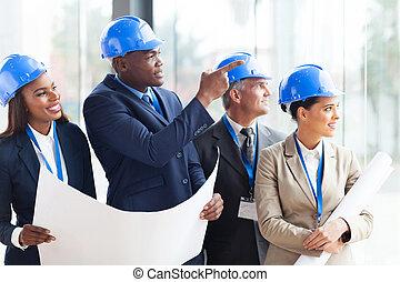 bouwsector, team, het bespreken, architecturaal, plan