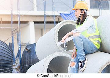 bouwsector, techniek, harde hoed, bouwterrein