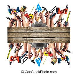 bouwsector, tools., handen