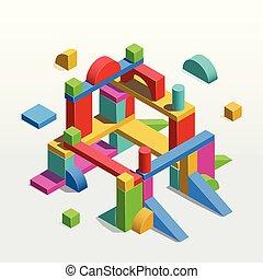 bouwsector, uit, van, speelbal, eenheid, blocks., vector, isometric, illustratie