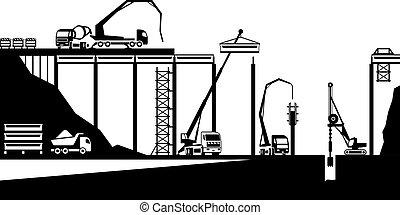 bouwsector, van, brug, op, straat