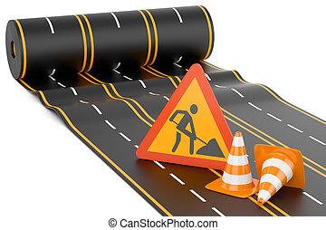 bouwsector, van, de, highway., concept