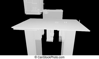 bouwsector, van, de, olieplatform, wireframe