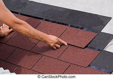 bouwsector, van, een, dak