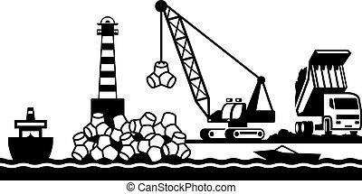 bouwsector, van, golfbreker