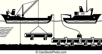 bouwsector, van, pijpleiding, op, bodem, van, zee