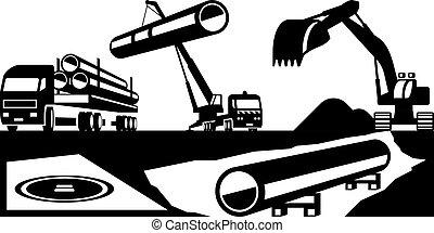 bouwsector, van, pijpleidingen