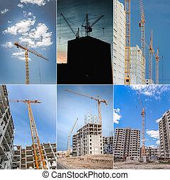 bouwsector, van, wolkenkrabber, en, hijsen, crane., collage.