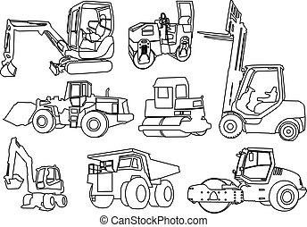 bouwsector, vector, -, machines