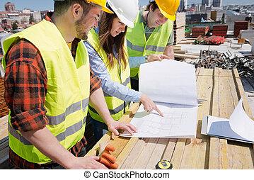 bouwsector, vergadering, bouwterrein