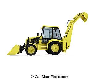 bouwsector, vrachtwagen, vrijstaand, aanzicht