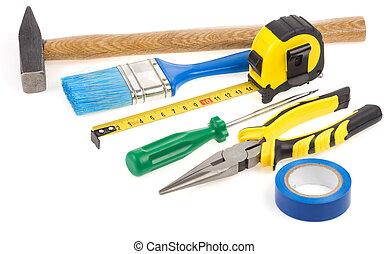 bouwsector, vrijstaand, gereedschap, set, witte