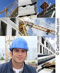 bouwsector, werken, collage