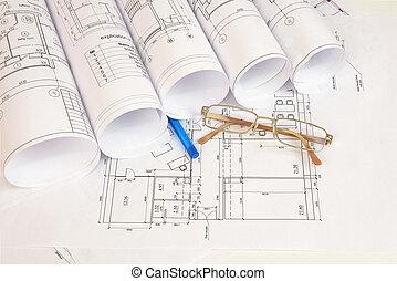 bouwsector, werkjes, bril, en, pen