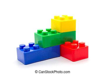 bouwstenen, lego, plastic, achtergrond, witte