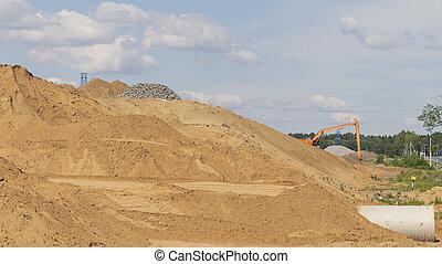bouwterrein, bergen, bouwsector, zand