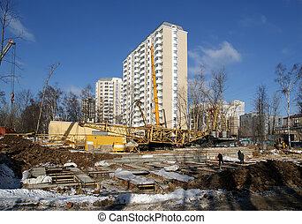 bouwterrein, rusland, moskou
