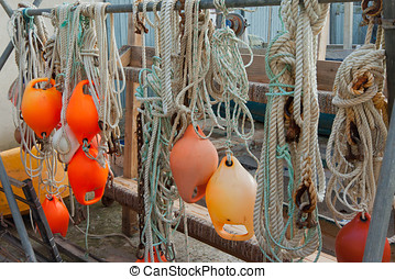 Bouys and ropes - collection of bouys and ropes from the ...