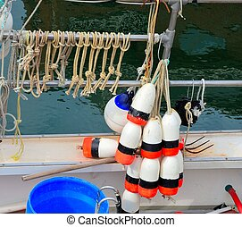 Bouys for marking traps on a lobster boat