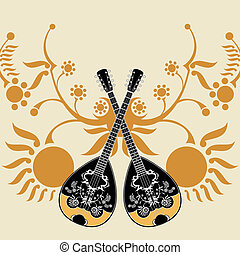 bouzouki composition - greek folk musical instrument...