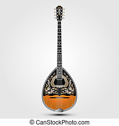bouzouki - realistic greek folk musical instrument on clean...