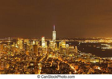 boven, aanzicht, van, new york stad, op de avond