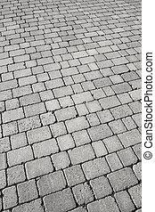 boven., cobblestone straat, black , afsluiten, witte