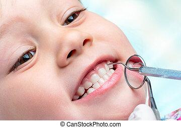 boven., dentaal, controleren, kind