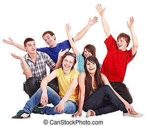 boven., groep, mensen, jonge, hand, vrolijke