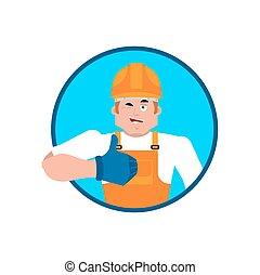 boven., helm, beschermend, dienst, emoji., wenken, aannemer, arbeider, illustratie, cheerful., vector, duimen, serviceman