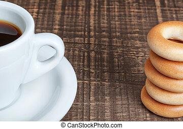 boven., koffiekop, houten, bagels, afsluiten, bakt, texture.