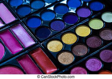 boven., opmaken, pallet, cosmetic.makeup, .eye-shadow, afsluiten, professioneel