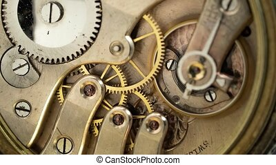 boven., oud, working., klok, ouderwetse , wrakkigheid, mechanisme, zak, tijd, afsluiten