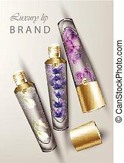 boven., spotten, balsem, gentil, fragrances, lippenstift, realistisch, lavendel, product, verpakking, rozen, lip, luxe, vector., buizen, snowdrop, schoonheidsmiddelen
