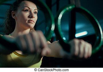 boven., vrouw, werkende , gym., afsluiten, uit