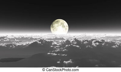 boven, wolken, volle maan