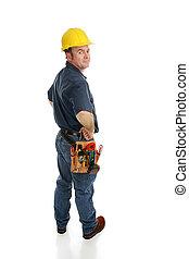 bovenkant, arbeider, aanzicht, bouwsector