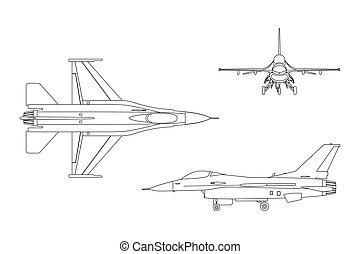 bovenkant, schets, aircraft., bovenzijde, voorkant, militair, tekening, aanzicht
