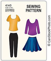 bovenkanten, broek, naaiwerk, rok, model