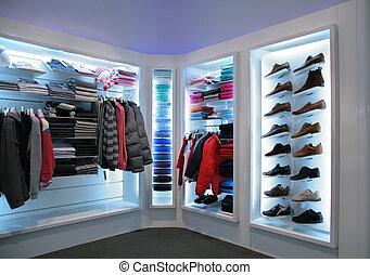 bovenleer, kleren, en, schoentjes, in, winkel