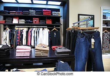 bovenleer, kleren, in, winkel, 2