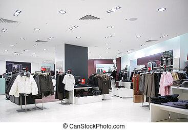 bovenleer, kleren, in, winkel