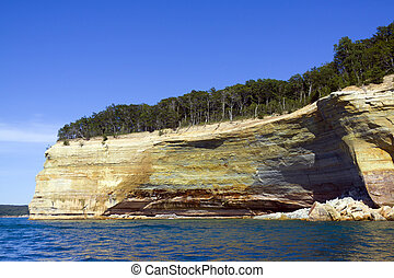 bovenleer, michigan, usa, (pictured, -, schiereiland, rocks)