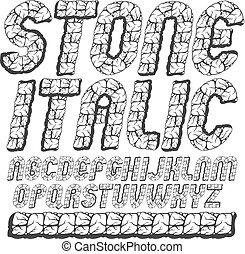 bovenleer, set, brieven, isolated., afgerond, logo, texture., design., gebruiken, oud, alfabet, lettertype, cursief, typescript, stoutmoedig, gebruik, metselwerk, koel, geval, gecreëerde, vector, engelse